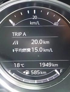 CX-5幹線道路での実燃費